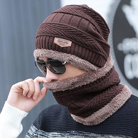 Mũ Len kèm khăn ống cực ấm - Phong cách Hàn Quốc -Nam nữ