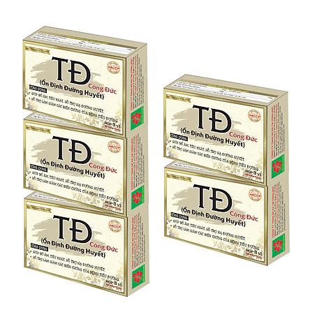 Bộ 5 hộp Ổn định đường huyết Công Đức, hỗ trợ hạ đường huyết cho người bệnh tiểu đường