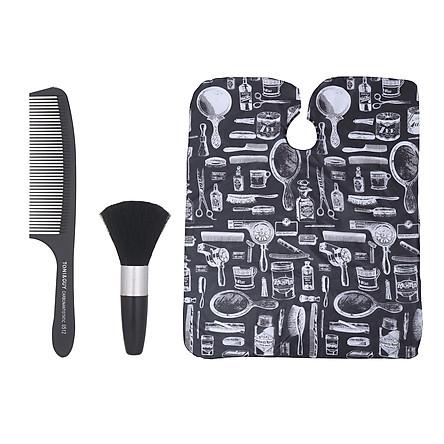 Bộ dụng cụ gồm lược, áo choàng và cọ phủi màu đen dùng trong cắt tóc