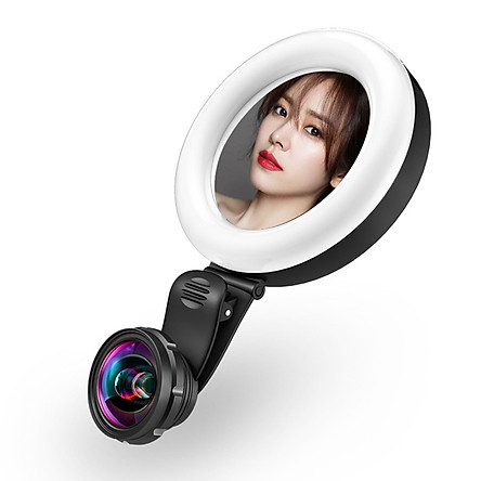 Cellphone Lens with LED Beauty Light 15X Macro Lens Wide Angle Lens Mirror Cell Phone Lighting Clip-on Selfie Light for