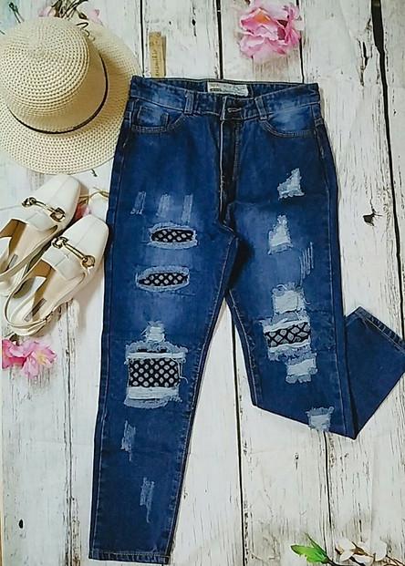 Quần jeans baggy phối lưới