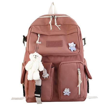 Balo nữ Alice chất liệu vải canvas chống thấm nước tặng kèm sticker và móc khóa gấu bông QN150221