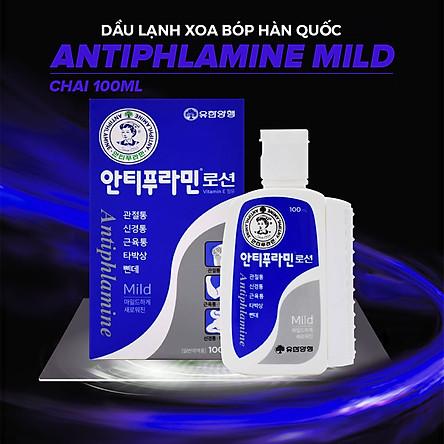 Dầu Lạnh Xoa Bóp Massage Hàn Quốc Antiphlamine Mild màu xanh - Đau nhức cơ thể, giúp da mềm mại - Chai 100ml