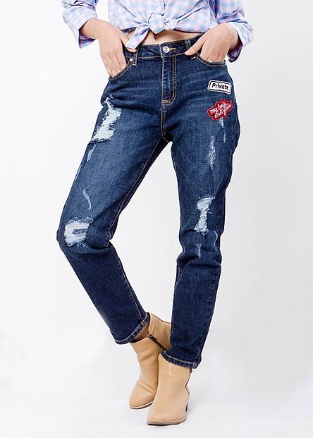 Quần Baggy Jeans Rách Nữ - Xanh Đen Ninomaxx