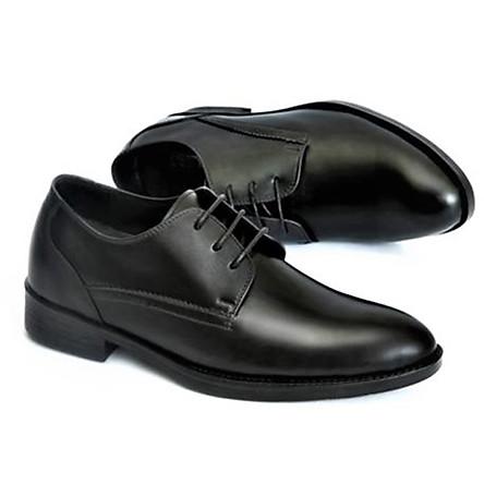 Giày nam công sở da bò nguyên tấm Napa, buộc dây, da bò đên trơn nhẵn phối đồ âu, đi êm chân SHOES 2H – 75