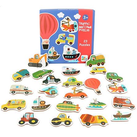 Đồ chơi gỗ tranh ghép hình xe ô tô cho bé từ 2 tuổi, xếp hình puzzel thông minh