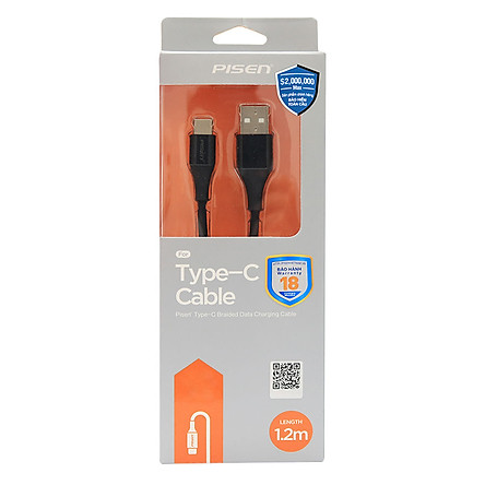 Dây Cáp Sạc USB Type-C Pisen Dài 1.2m Braided Chống Gãy - Hàng Chính Hãng