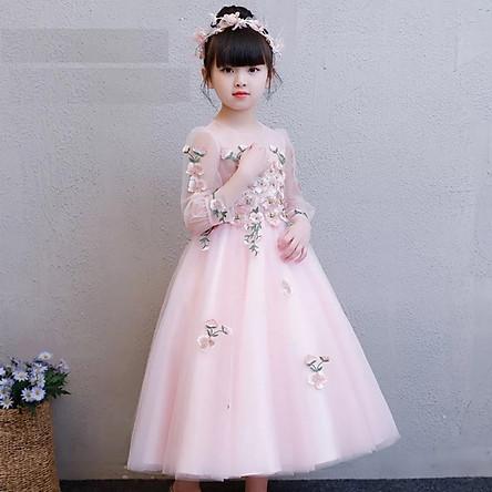 Váy công chúa hồng thêu ren hoa