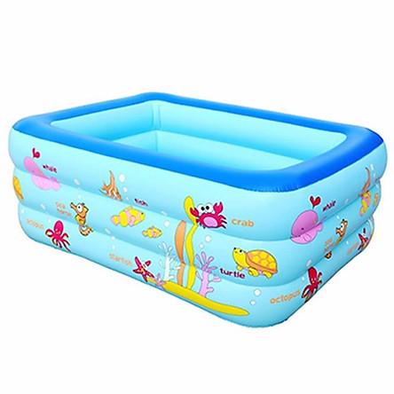 Bể bơi phao 3 tầng cho bé size to 210x145x65cm - Mẫu mới (màu ngẫu nhiên) tặng kèm 1 móc khóa huýt sáo
