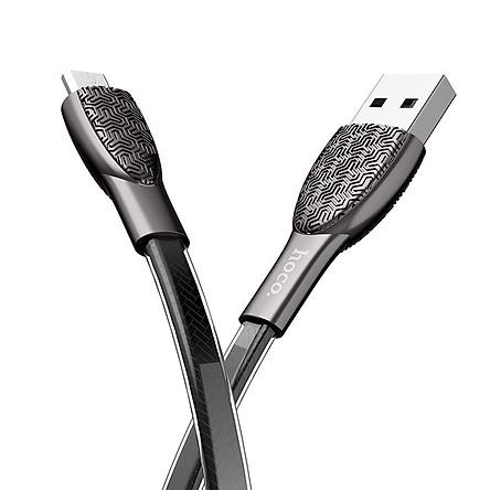 Cáp sạc Micro-USB Hoco hỗ trợ sạc nhanh 2.4A cho điện thoại SAMSUNG/XIAOMI/OPPO dài 1.2m chất liệu hợp kim kẽm chắc chắn, chống rối hiệu quả U52 - Hàng chính hãng