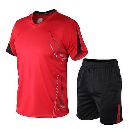 Bộ đồ thể thao bóng đá nam thể thao áo thun ngắn tay quần áo nam nhanh khô chạy quần áo thể thao giản dị rộng rãi