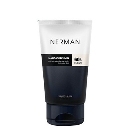 Gel rửa mặt ngăn ngừa mụn Nerman Nano Curcumin 60s Fresh dành riêng cho nam làm sạch sâu, ngăn ngừa vi khuẩn gây mụn (100ml)