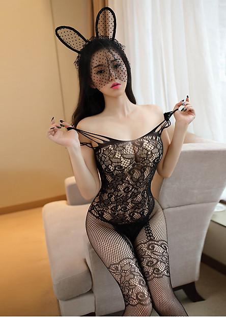 Bộ ngủ ren lưới toàn thân sexy BD01, Freesize