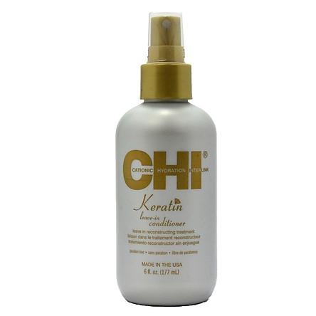 Xịt xả khô CHI Keratin Leave-In Conditioner cho tóc khô xơ hư tổn 177ml - Chính hãng Mỹ