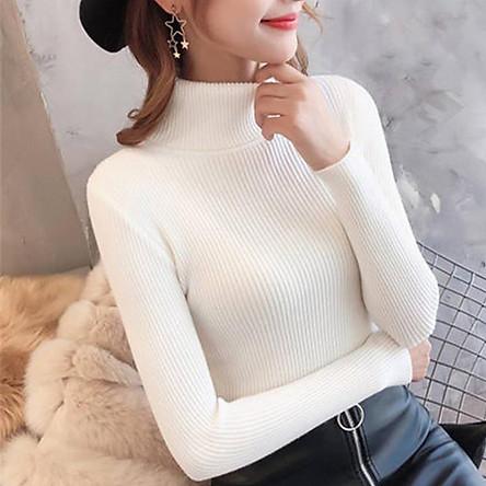 Áo len nữ cổ lọ chất liệu len tăm