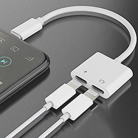 Cáp Chuyển Đổi 2 Trong 1 Vừa Sạc Vừa Cắm Tai Nghe Chuyển 2 Cổng Lightning Cho iPhone