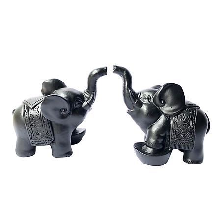 Cặp tượng voi đá trang trí N1 - màu đen