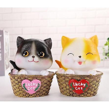 lucky cat mèo may mắn nhựa tiết kiệm quà tặng con heo đất
