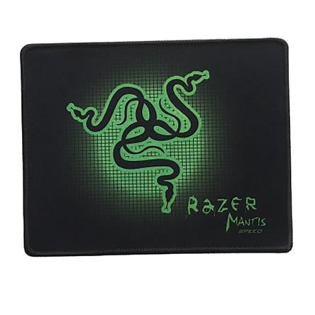 Tấm lót chuột gaming nền đen hình rắn xanh may viền - bàn di chuột mousepad  ( 25 x 21cm) - hàng chính hãng