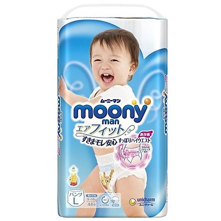 Tã/bỉm moony xanh không cộng miếng nội địa Nhật Bản size L quần bé trai 44 miếng ( cho bé từ 9-14kg)