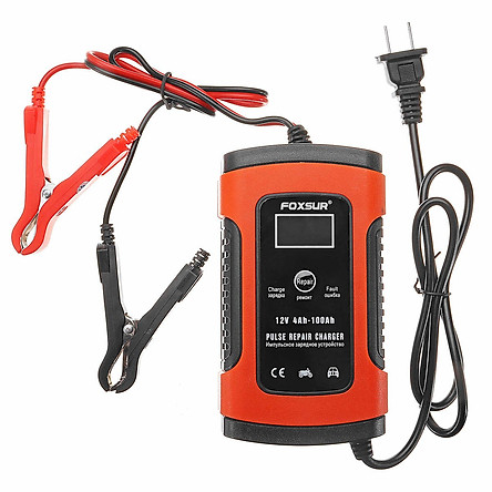 Máy sạc bình ắc quy 12V 5A FOXSUR 4-100Ah có khử sunfat phục hồi ắc quy