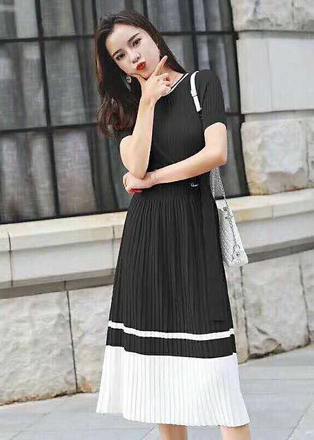 đầm len dệt kim phối màu ksn250292