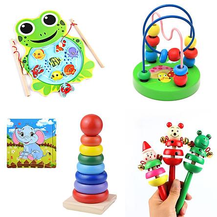 Combo 4 món đồ chơi gỗ an toàn cho bé yêu - tặng miếng ghép hình voi