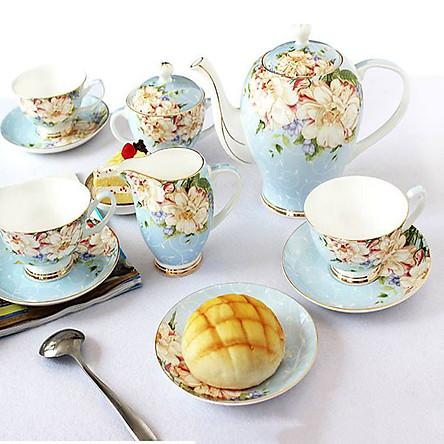 Bộ ấm trà xanh sứ xương cao cấp
