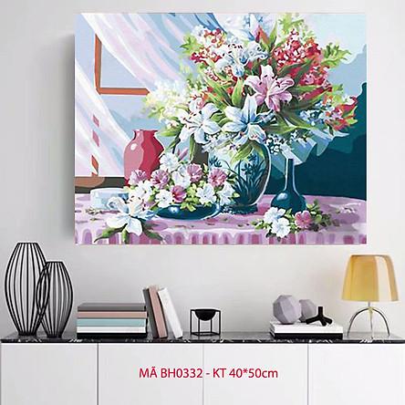 Tranh sơn dầu số hóa tô màu theo số Tranh lọ hoa đón nắng sớm bên cửa sổ mã BH0332