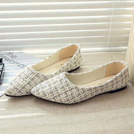 Giày búp bê chất len mềm mại thoáng khí thoải mái thời trang cho nữ