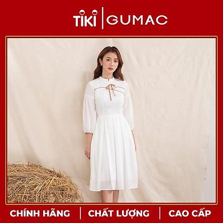 Đầm váy nữ  DA10109 GUMAC thiết kế  cổ tàu phối viền