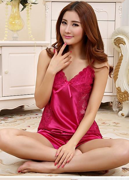 Bộ quần áo 2 dây phối ren dọc phi lụa sexy chất vải mềm nhẹ CDANP07