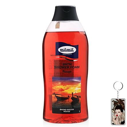 Sữa tắm hoa hồng đỏ Rouge Milmil Bath Shower Foam 750ml tặng kèm móc khóa
