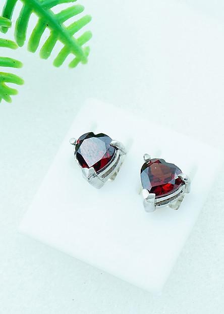 Bông tai đá Garnet đỏ 7mm hình trái tim