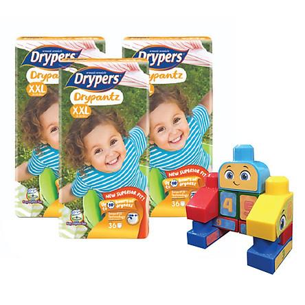 Combo 3 Tã Quần Drypers Drypantz XXL36 (36 Miếng) + Tặng Bộ ghép hình Fisher Price