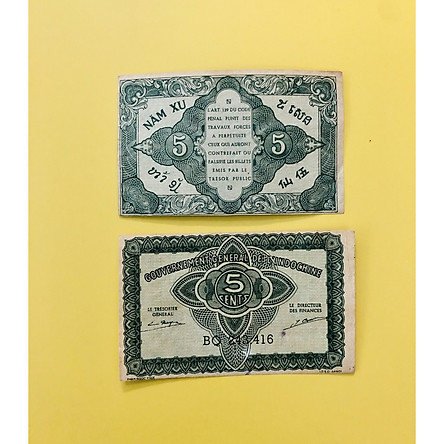 Tờ tiền 5 xu Hoa Văn Cổ thời Pháp năm 1942, kèm bao lì xì