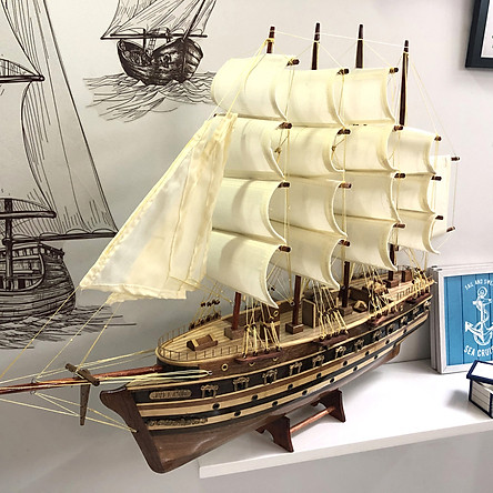 Mô hình thuyền gỗ trang trí Jylland - thân 60cm - loại 2