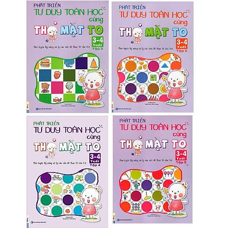Combo 4 Cuốn Sách Phát Triển Tư Duy Toán Học Cùng Thỏ Mặt To ( 3-4 Tuổi ) tặng kèm bút chì