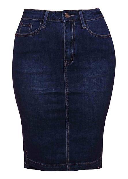 Chân Váy Jean 1 Nút Myone MS120085 - Xanh Đậm