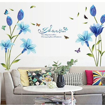 Decal dán tường hoa xanh dương tươi mát không gian phòng sang trọng