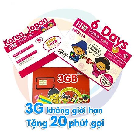 Sim Nhật Bản Và Hàn Quốc Joytel Mạng 4G Data Không Giới Hạn 6 ngày Có Phút Gọi