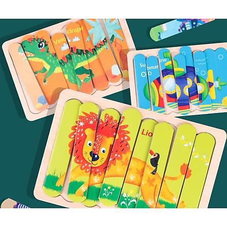 Đồ chơi gỗ - BỘ GỒM 8 TRANH GHÉP HÌNH PUZZLE QUE KEM GỖ CHO BÉ TỪ 24m+ - Giao ngẫu nhiên