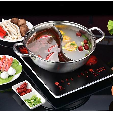 Nồi lẩu 2 ngăn INOX TIỆN LỢI Sz30cm . Dụng cụ nồi lẩu sử dụng mọi loại bếp, Phục vụ các món lẩu tại bàn chuyên nghiệp phù hợp CHO MỌI GIA ĐÌNH và NHÀ HÀNG ĐẴNG CẤP