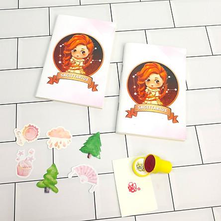 Bộ Sưu Tập Cá Tính Cung Hoàng Đạo Gồm 2 Sổ Tay Và 1 Con Dấu Tặng Kèm 6 Sticker Mini Mẫu Ngẫu Nhiên - Nhân Mã