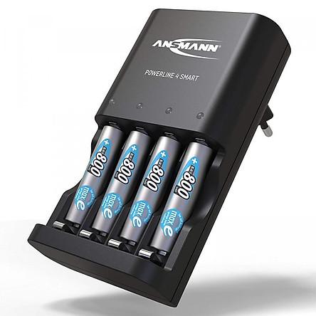 Combo Bộ sạc ANSMANN POWERLINE 4 Smart kèm 4 pin AAA-800mAh - Hàng Nhập Khẩu