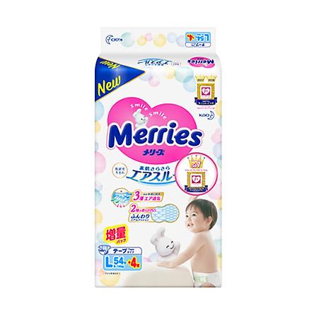 Tã/bỉm dán Merries size L - 54 + 4 miếng (Cho bé dưới 9-14 kg)