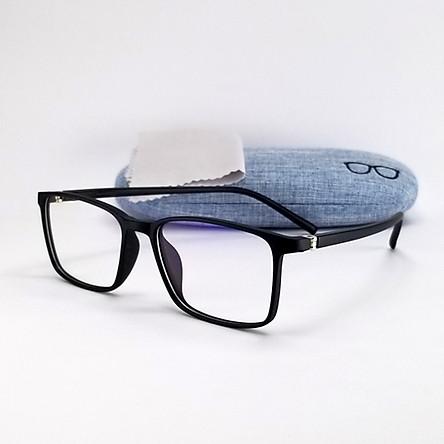 Gọng kính cận nam nữ dẻo màu đen, hồng nhạt, tròng giả cận 0 độ trong suốt chống ánh sáng xanh, mã DKY2172. Form kính ôm, không kén size mặt