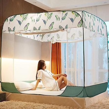 Mùng ( màn ) Chụp Màn Chụp Tự Bung người lớn cao cấp , Màn ngủ chống muỗi 1m8 x 2m   , Cao 1m65 , 3 cửa , có đáy liền, đình rộng