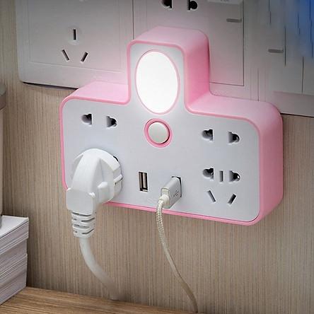 Ổ cắm điện đa năng tích hợp cổng cắm usb và đèn ngủ (3 chấu)