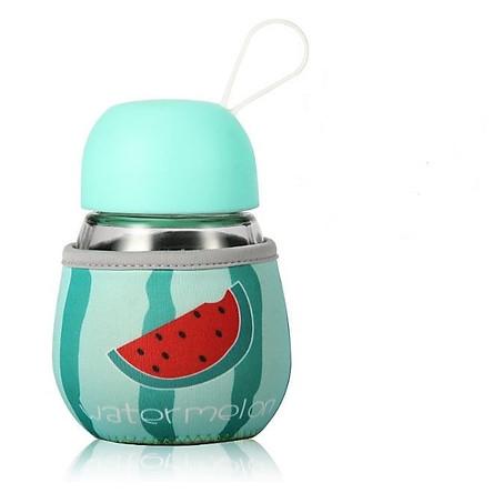 Bình thủy tinh mini ủ cháo, ủ sữa cho bé ( màu ngẫu nhiên ) -  Tặng 01 bát inox 16cm